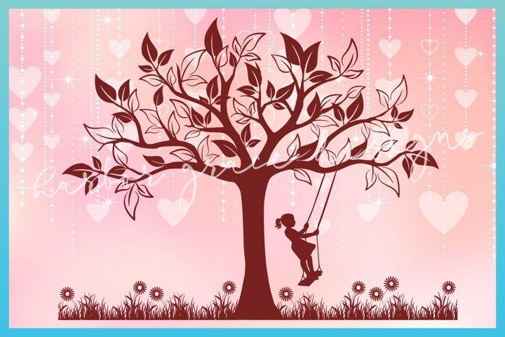 Girl Swinging in Tree Swing SVG | Child Flowers Cut File