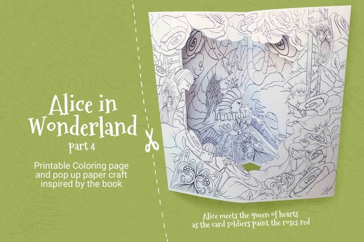 Alice in Wonderland pop up coloring pages