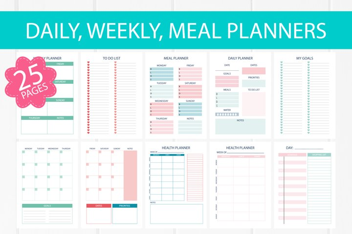25 Weekly, daily, meal, health planner pages A4 size bundle