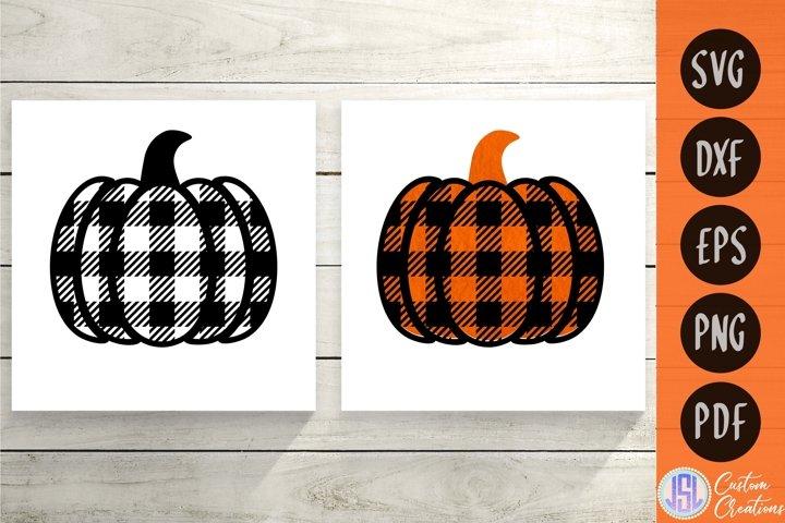 Buffalo Plaid Pumpkins Set of 2 | Fall | SVG DXF EPS PNG PDF