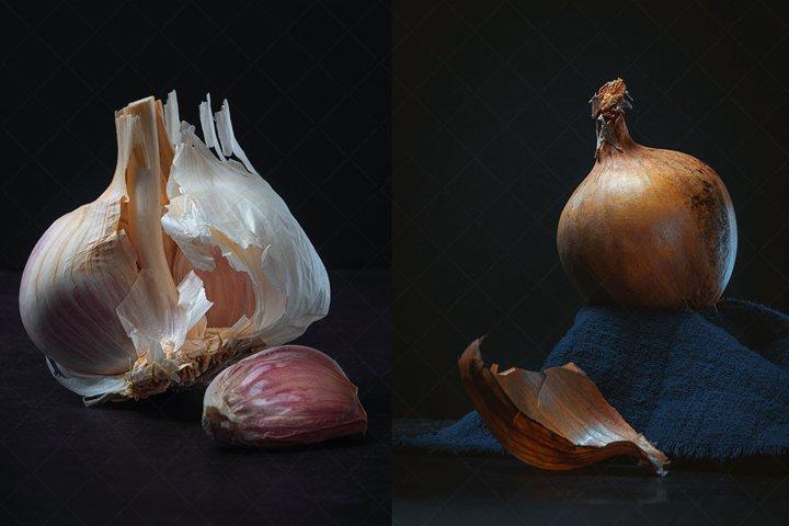 Majestic Garlic and Onion on Dark Background Still Life