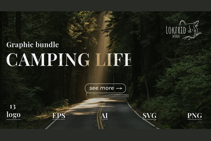 Camping life Graphic bundle. 13 illustration in doodle style