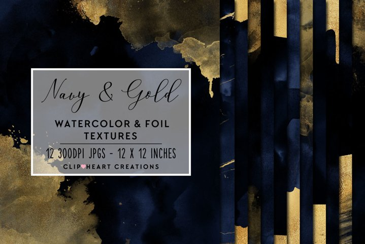 Navy & Gold Watercolor and Foil Papers