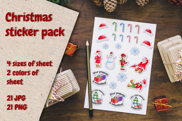 Christmas Gnomes and Santa Stickers. Watercolor pack