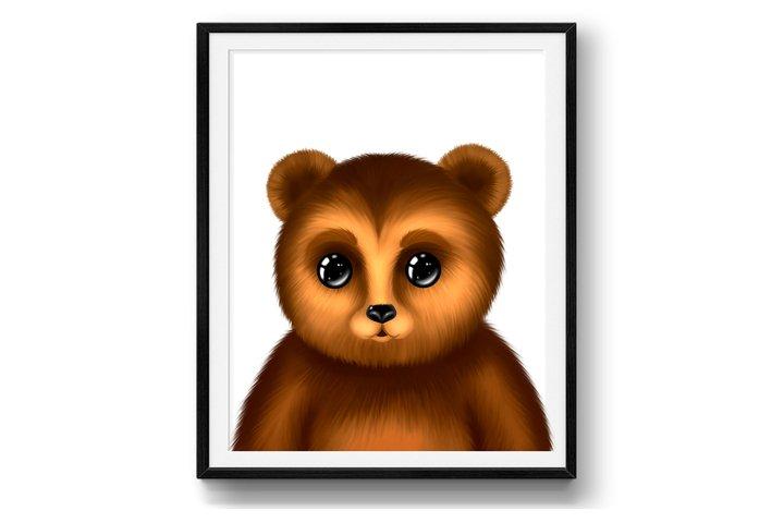 Nursery bear print - Wall decor - Cute teddy - Animal poster