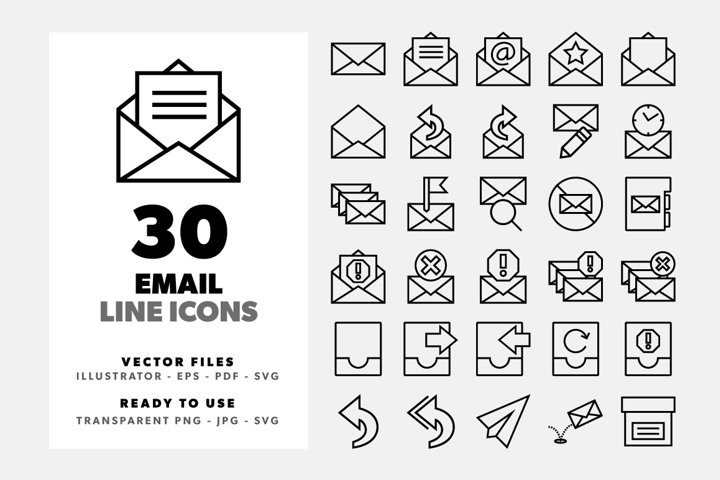 Email Line Icon Set