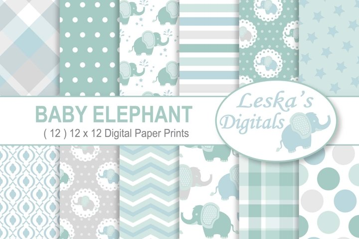 Baby Elephant Digital Paper Patterns - Green