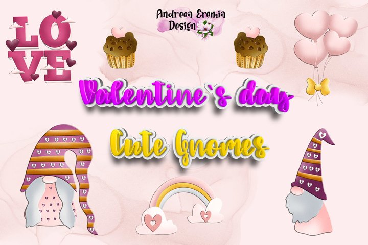 Valentines Day Cute Gnomes