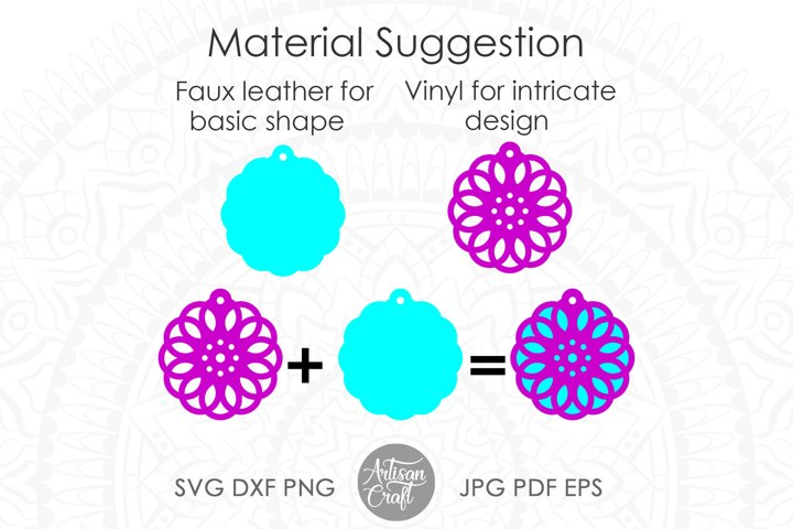 Geometric earring SVG, Leather earring template, Cut file example 7