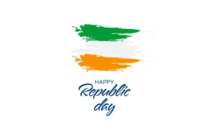 Happy Republic Day Handwritten Text With Flag