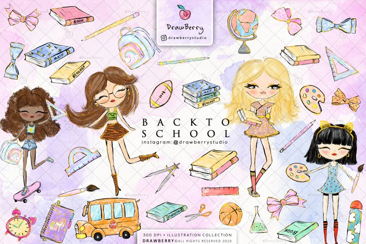Cute Back to School Clipart Pack