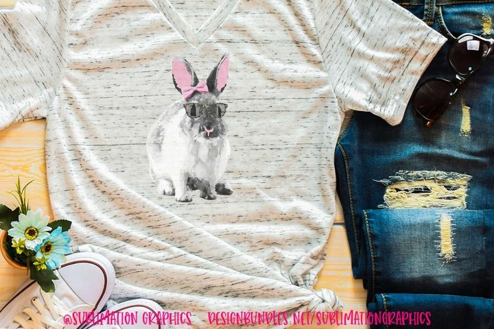 Bunny With Bow & Glasses Sublimation Digital Download