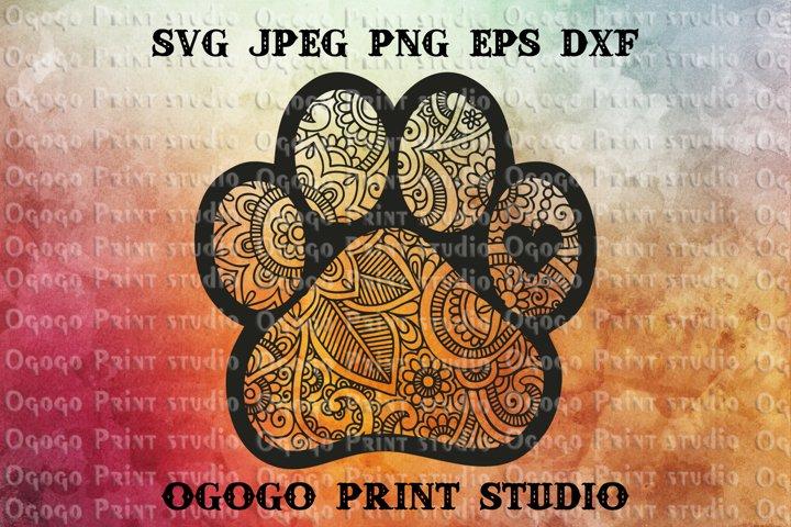 Mandala svg, Dog paw Svg, Zentangle SVG, PAW Patrol Svg, Pet