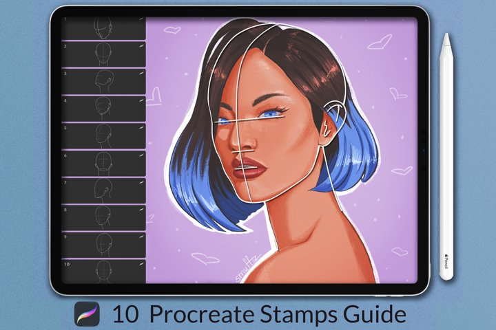 Portrait Guide Procreate Stamps, Figures Stamps Brushes