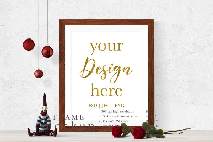 Christmas Wood Frame Mockup - Frame Mockup for Wall Art