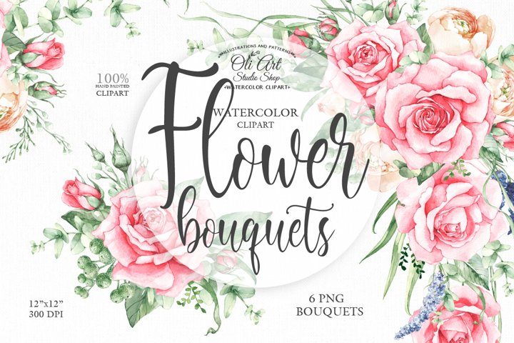 Watercolor floral clipart of pink roses