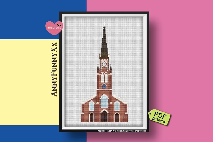 Cathedral cross stitch pattern PDF, Louisville Cathedral