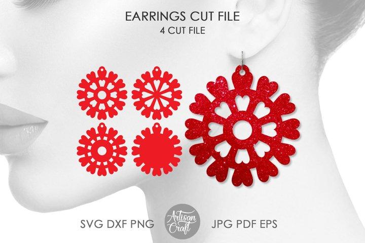 Heart mandala, earrings cut file, laser cut earrings