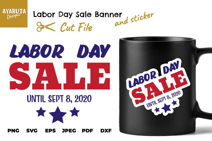 Labor Day Sale SVG Banner and Sticker, Season Sale Clipart