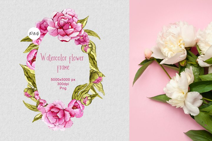 Watercolor flower frame PNG