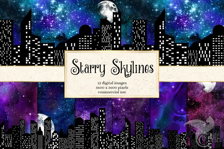 Starry Skyline Digital Paper