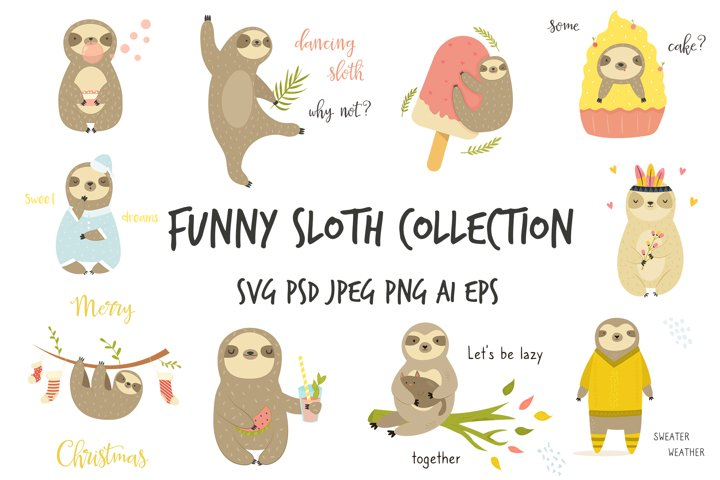 Cute Cartoon Sloth Collection. SVG, PNG, Files for Prints