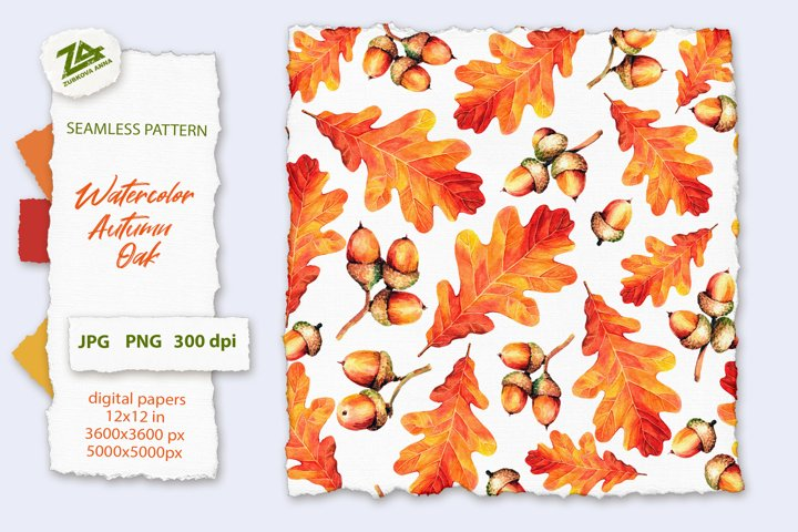 Seamless Watercolor Pattern Autumn Oak leaves and acorns PNG