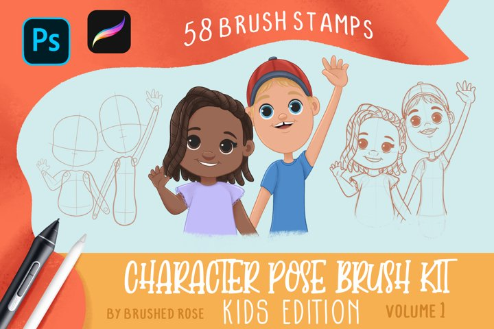 Kids Character pose brushes for Procreate and Photoshop