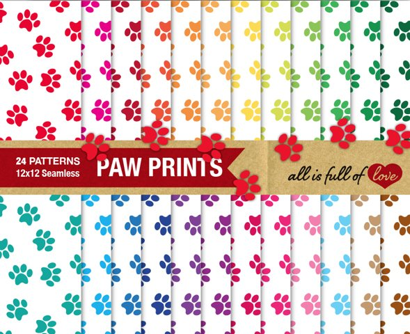 Dog Paw Digital Paper White Background