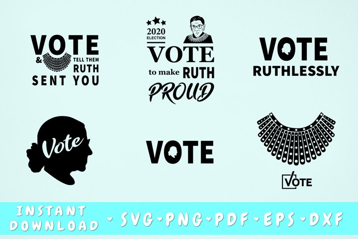 Ruth Bader Ginsburg Vote SVG Bundle - 6 Designs