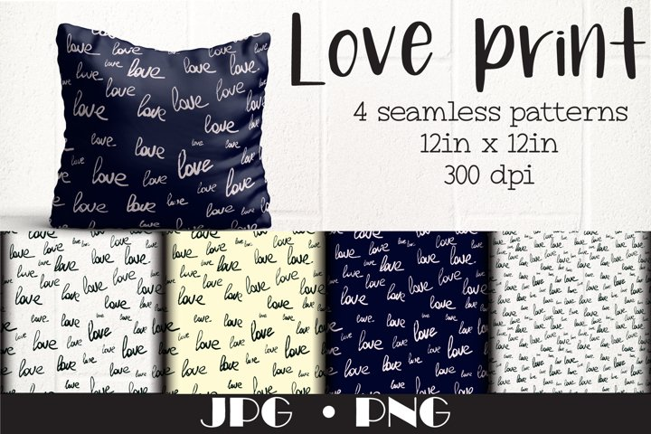 Printable Valentine, Love Seamless pattern