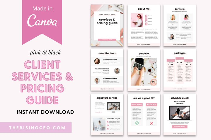 Client Services and Pricing Guide Canva Template