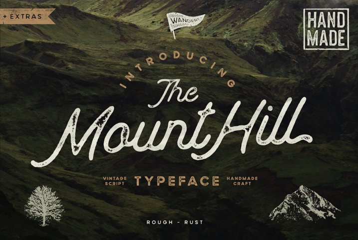 Mounthill Script Typeface with Extras