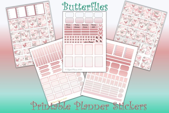 Planner Stickers Butterflies. 5 Sheet 200 stickers JPEG PDF