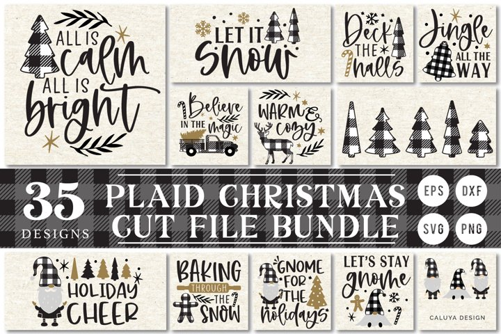 Plaid Christmas SVG Cut File Bundle for Sign Making