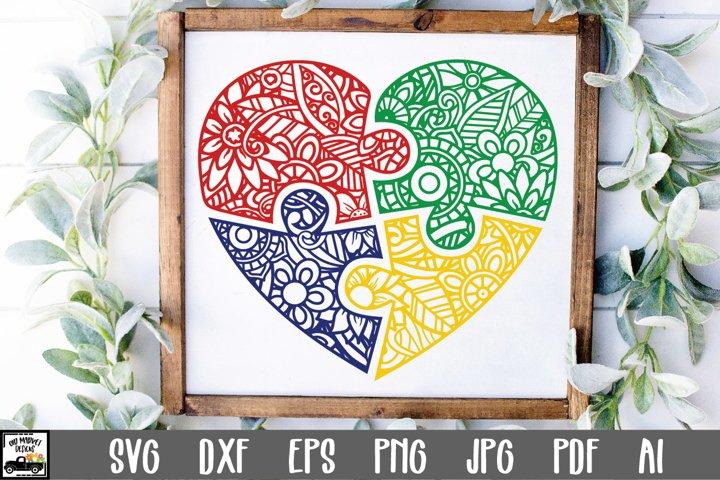 Autism Heart Puzzle Mandala SVG Cut File