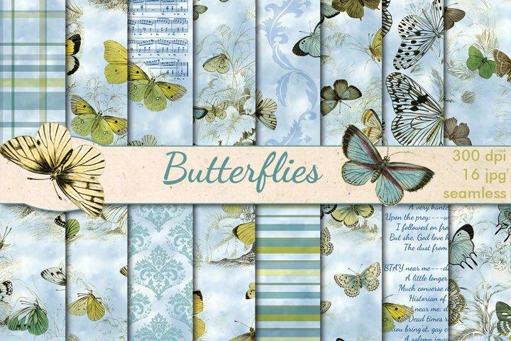 Summer Butterflies seamless patterns