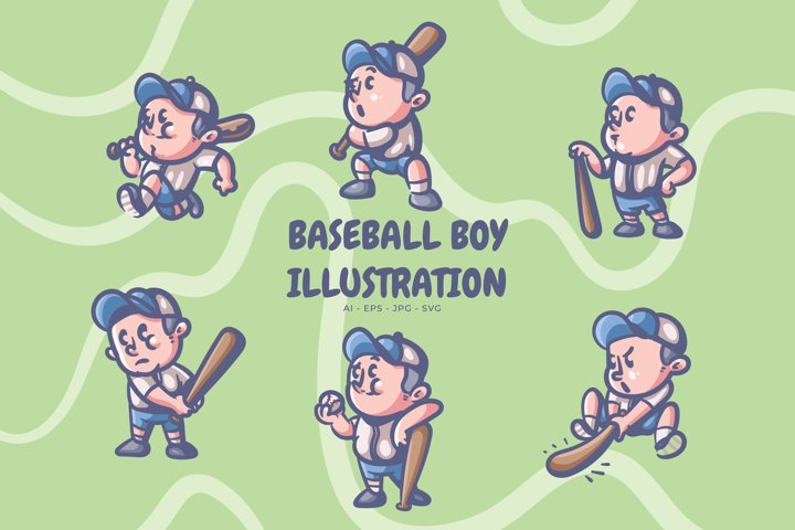 Baseball boy illustration