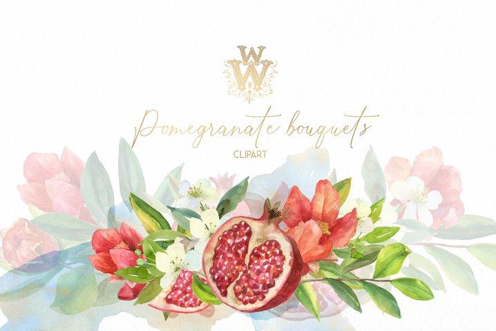 Red flower watercolor bouquet wedding clip art, pomegranate