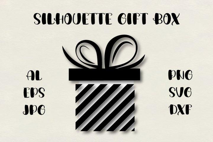 Gift box silhouette SVG, present SVG, Christmas SVG