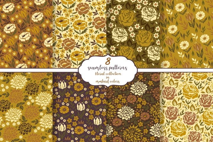 Floral collection of 8 seamless patterns in mustard colors