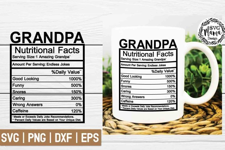 Grandpa Nutritional Facts Svg