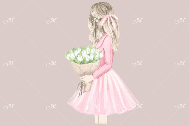 Girl in Pink with white Tulips. Hand drawn illustration