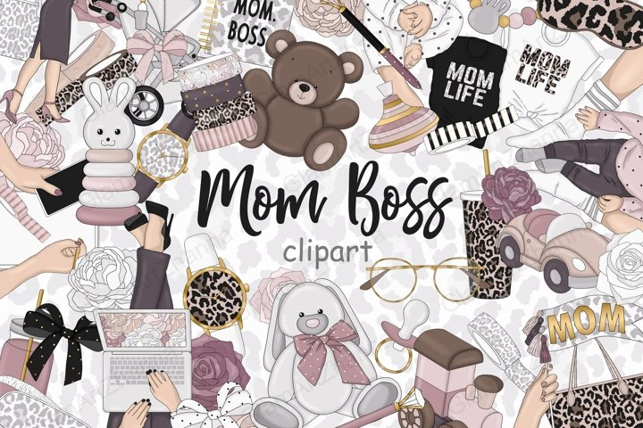 Mom Boss CLIPART Pink Gray Fashion Babe Stickers PNG files