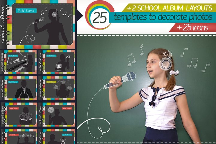 school album template and icons