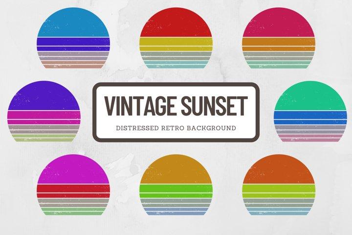 Vintage Retro Sunset Background Elements