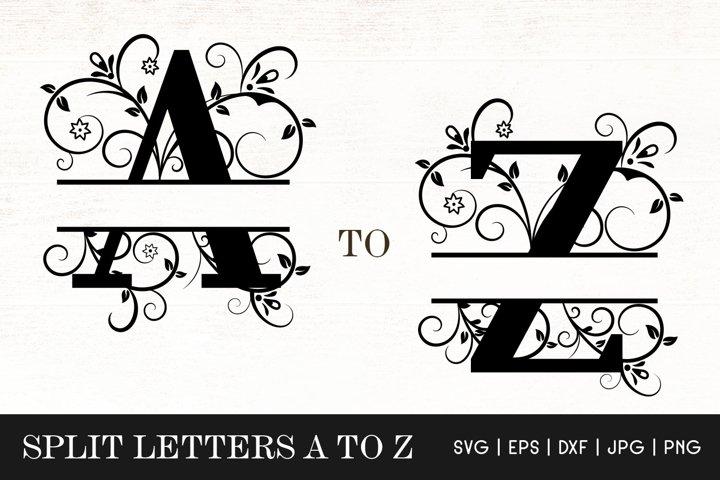 Floral Split Letters Monogram SVG - Alphabets Split Monogram