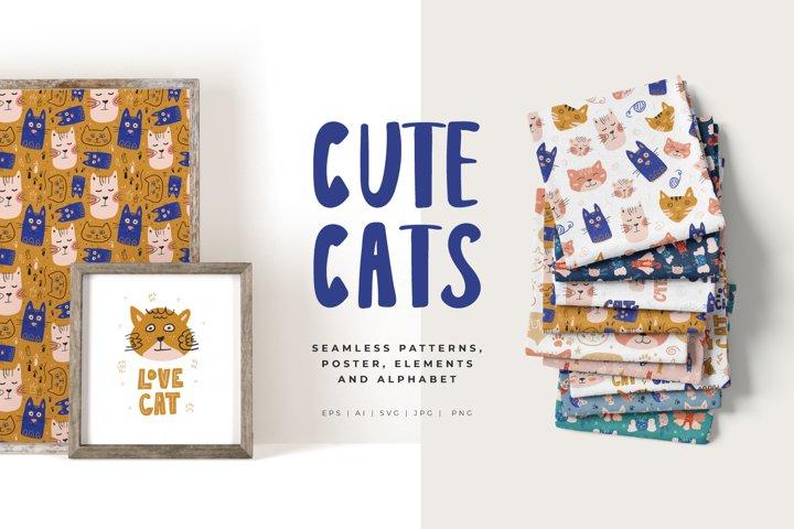 Cute Cats - Seamless pattern, poster, elements, alphabet