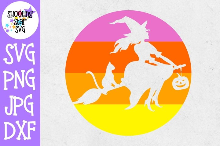 Witch on a Broom SVG Sunset Background - Halloween SVG