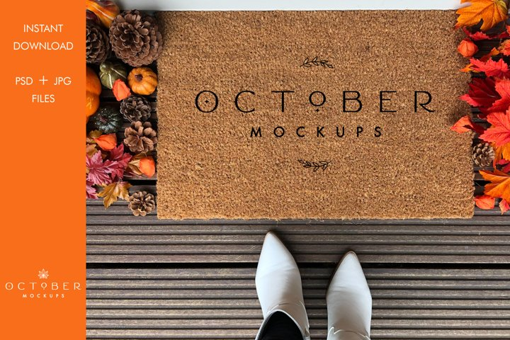 Fall Doormat mockup | Personalized doormat mockup JPG and PS